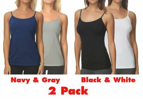 dc5f74678d3a6 Maidenform 2pk Stretch Cotton Shelf Bra Cami Set Size M 6-8 Navy grey Tank  for sale online