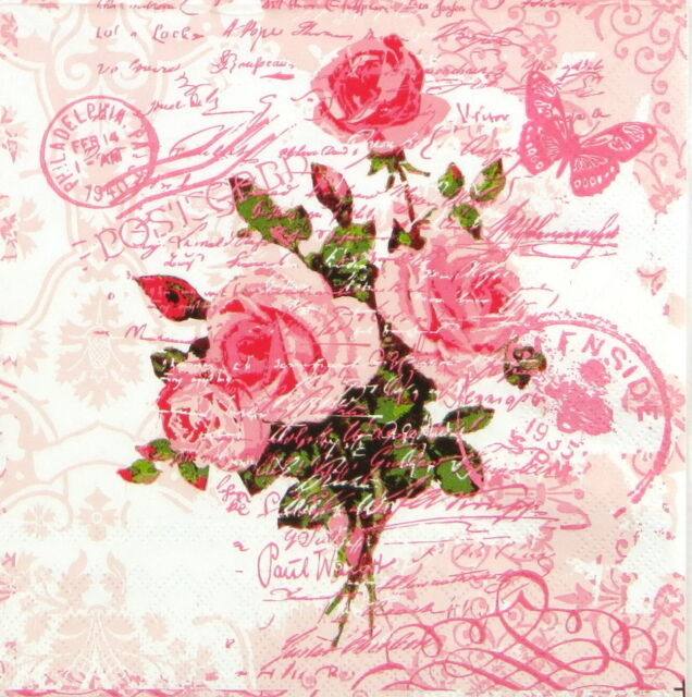 4x Single Table Paper Napkins for Party, Decoupage, Vintage Red Rose Postcard