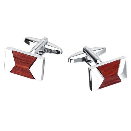 1 Paar Manschettenknöpfe Rot Silber Holz Manschettenknöpfe Herrenhemd