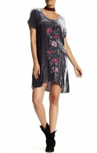 Johnny-Was-JWLA-Floral-Embroidered-Velvet-Scoop-Neck-Tunic-Dress-Sz-Small