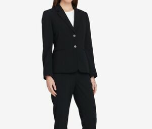 Tahari by ASL Womens Blazer Deep Black Size 6P Petite Two-Button $129- 090