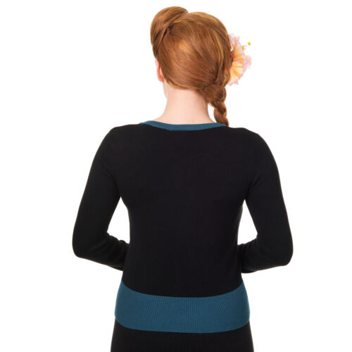 Banned Rockabilly Vintage Giacca In Maglia Cardigan-Twisted Swallows le rondini blu