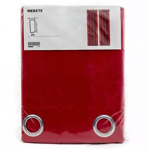 IKEA-MERETE-2-Gardinen-rot-Vorhang-Vorhaenge-145x300cm-Gardinenpaar