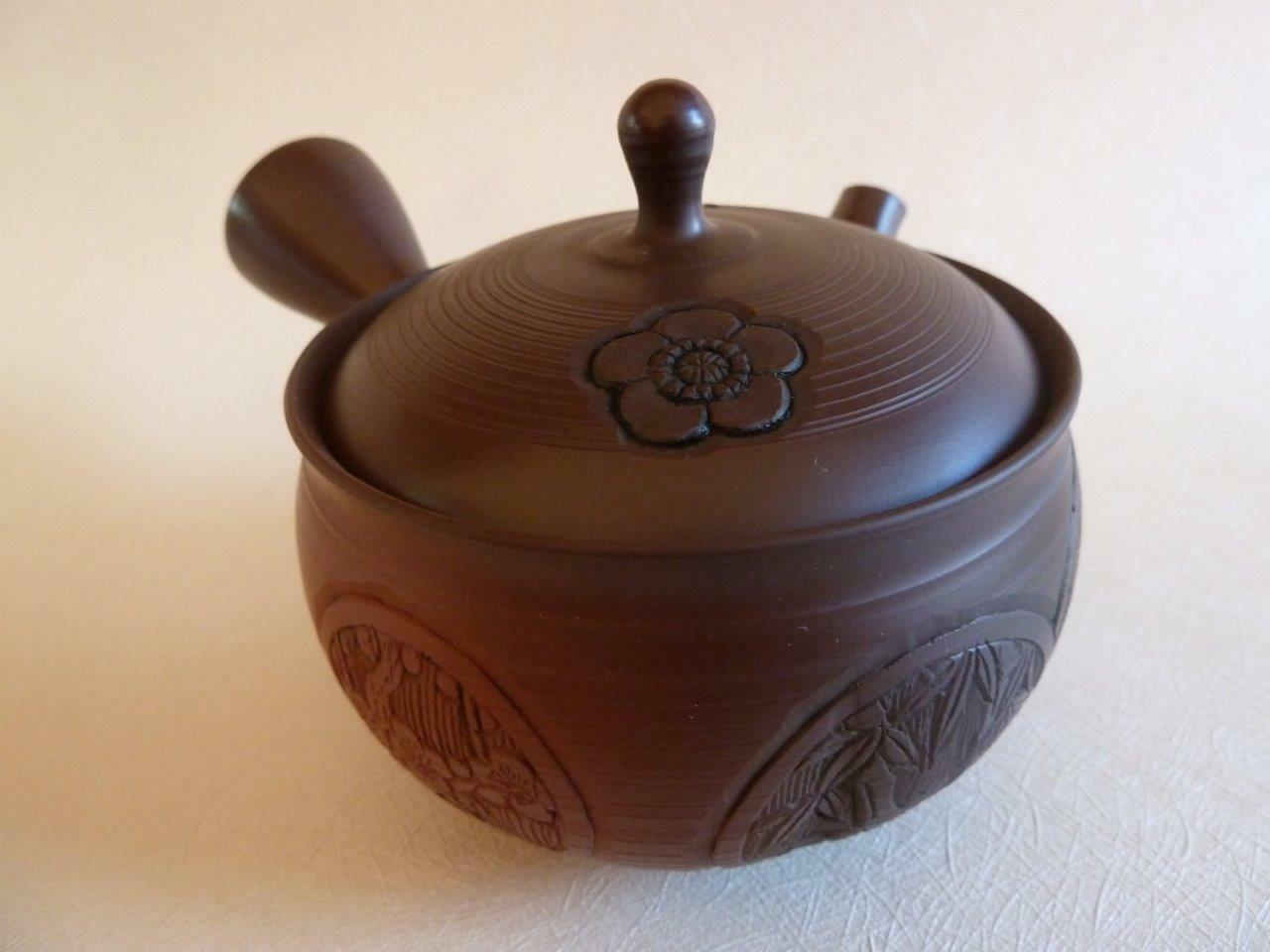 Tokoname Japonais théière, Kyusu, Gyokuryu, teapot, porte-bonheur symboles, Teapot