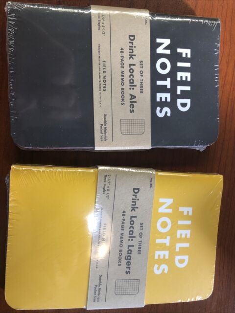 2 New Field Notes Drink Local: Ales And Lager 3 Pack Notebooks, Bonus Coasters