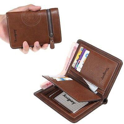 Mens Bifold Leather ID Card Holder Purse Zip Coin Wallet Handbag Clutch Billfold
