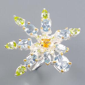 Blue Topaz Ring Silver 925 Sterling Fine art Jewelry Size 8.25 /R140838