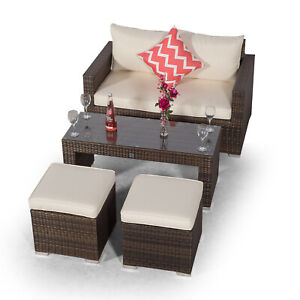 Details about Sydney Rattan 2 Seater Sofa & Coffee Table Set Outdoor Patio  Garden Furniture