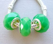 3 pcs Green Faceted Glass Beads Fit for European Charm Bracelet and Necklace G3