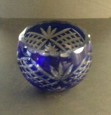 VINTAGE COBALT BLUE CUT TO CLEAR BOHEMIAN GLASS BOWL VASE PINEAPPLE PATTERN?
