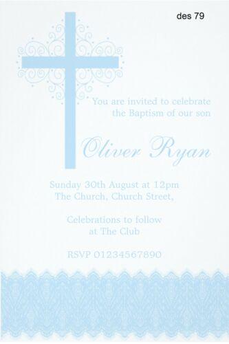 Girl Christening Baptism Naming Day Dedication Invitation 40 Personalised Boy