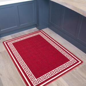 Traditional Red Anti Slip Kitchen Mat Machine Washable Bordered Long
