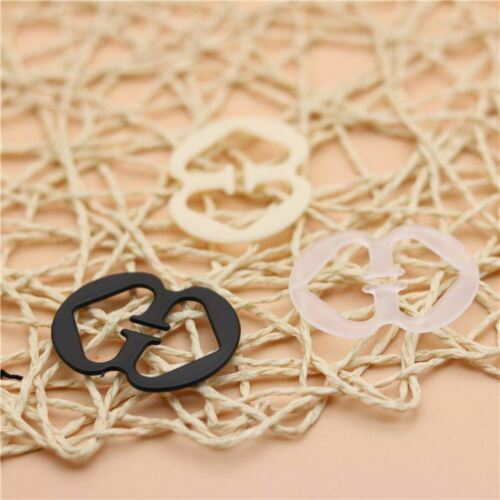 16 Double Heart Bra Clips for Adjustable Racerback Straps in Black Nude /& Clear