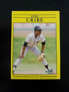 🔥📈 RARE ERROR CARD 1991 Fleer Jose Uribe #275 - San Francisco Giants