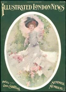 1908-FINE-ART-Antique-Print-Summer-Number-Lady-Book-Roses-Parasol-243