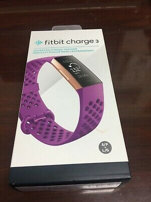 Fitbit Charge 3 Fitness Activity Tracker S /& L Bands Included Rose Gold//Berry One Size