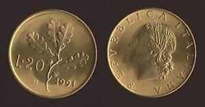 20 LIRE 1991 RAMO DI QUERCIA - ITALIA FDC/UNC FIOR DI CONIO