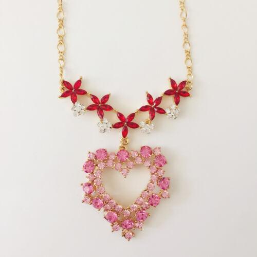 Nouveau Luxe Noël Fuchsia Rose Rouge Fleurs Amour Collier Coeur NE1482