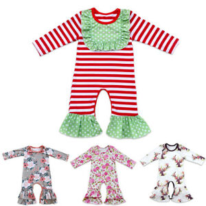 b14733805 Christmas Baby Girls Romper Bodysuit Pajama Icing Ruffle Pants ...