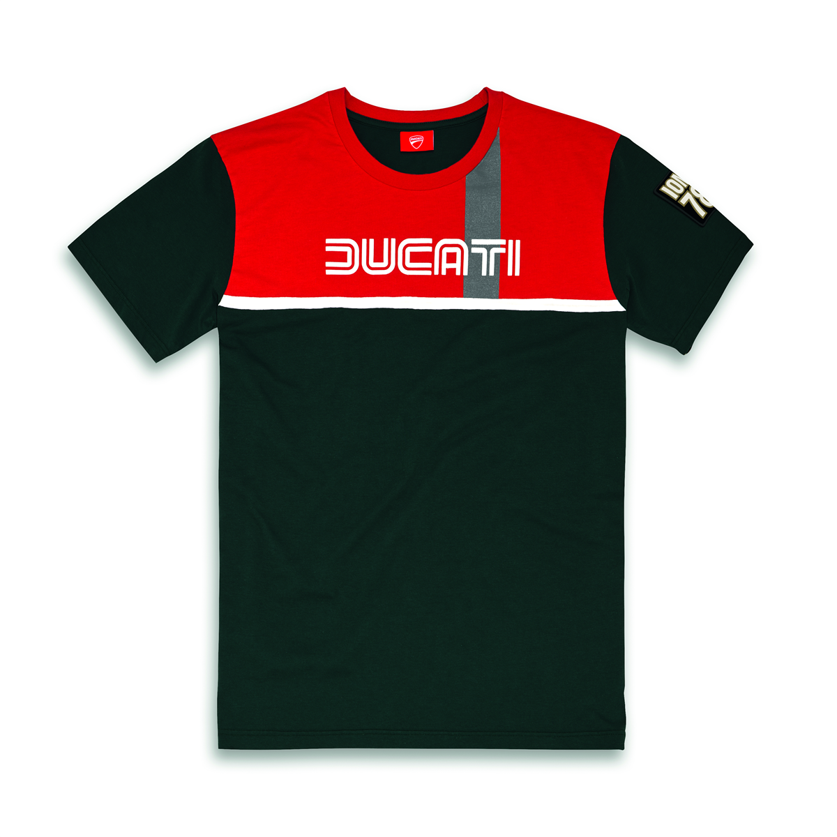 DUCATI IOM Isle of Uomo Retro T-Shirt Manica Corta verde Scuro Rosso NUOVO 2018