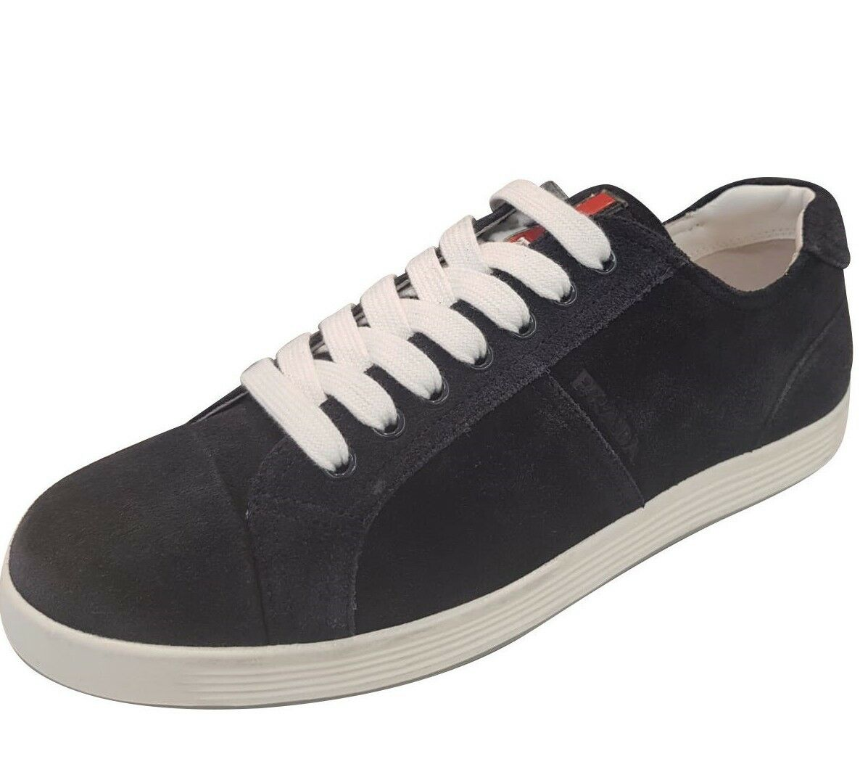 PRADA Prada men's shoes black suede sneaker brand size 8.5 UK size European 42.5