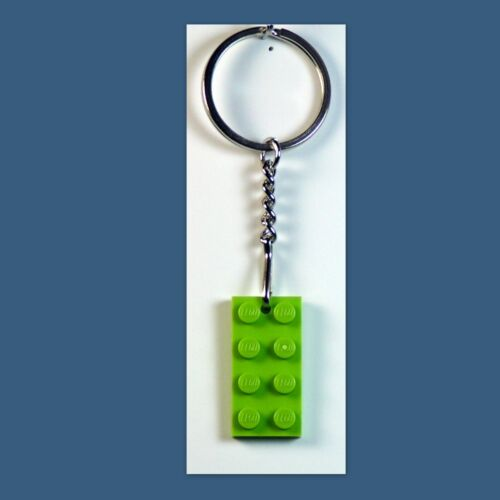 Party Favor Game Prize 10 Lot Key Chain w// Lego 2x4 Lime brick Plate Gift