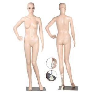 Full-Body-Female-Mannequin-w-Base-Plastic-Realistic-Display-Head-Turns-Dress