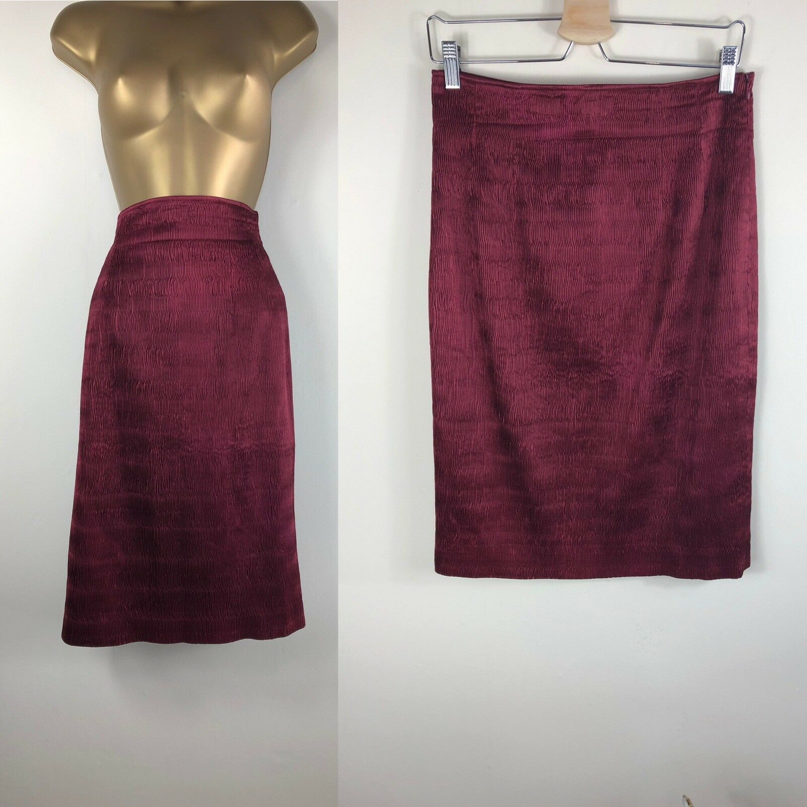 Ladies Rare GENNY BY GIANNI VERSACE Size 8 Silk Maroon Red Pencil Skirt Vintage