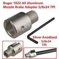 Silver Ruger 1022 10-22 Muzzle Brake Adapter 5/8x24 Thread,three Lock Nut
