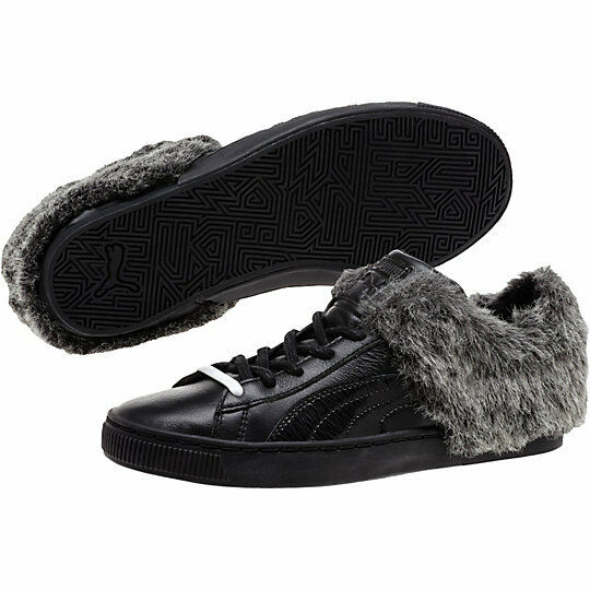 PUMA BASKET FUR 50/50 FUR BASKET LO LEATHER SNEAKERS Donna SHOES BLACK 361328-01 SIZE 8 NEW 5925c1