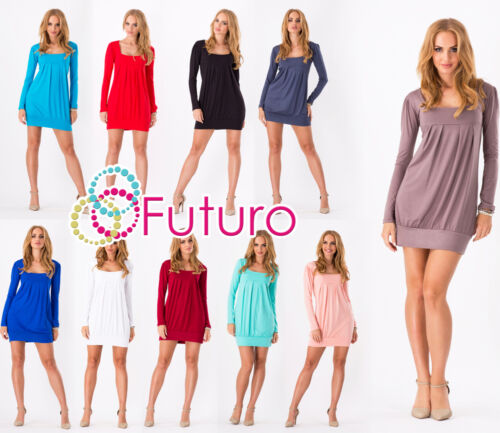 Women/'s Mini Dress Long Sleeve Square Neck Tunic Shift Dress Sizes 8-18 2534