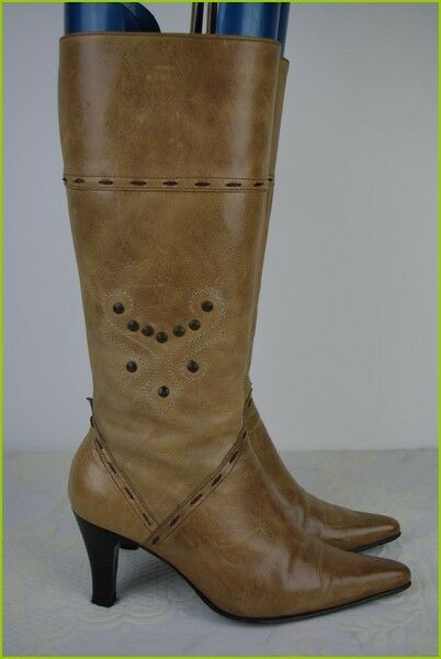 Leather Boots Light Brown Folded leather Studded T 36 VERY GOOD CONDITION