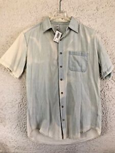 7d85603aedd9bf NWT American Apparel Mens Denim Button Up Shirt Medium S/S Light ...