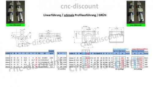 CNC Set 12x 550mm Linearführung Linear Guide Rail Stage 3D
