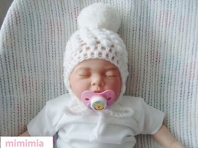 mixed pompom  hand made baby crochet hat for  girl baby pink /& silver grey