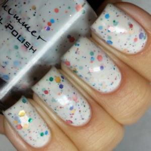 Image Is Loading Oh Splat White Glitter Nail Polish With Rainbow