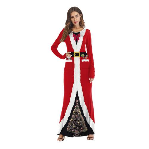 Women Christmas Santa Claus Costume Cosplay 3D Printed Ball Party Long Dress