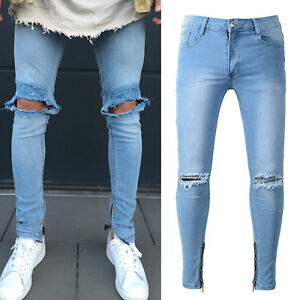 Das Bild wird geladen Jeans-Herren-Zerrissen-Destroyed-Risse-Roehrenjeans- Denim-Slim- 21a8e2b3e3