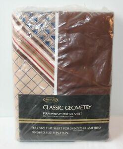 Vintage-Brown-Geometric-Full-Sheet-Flat-Stripes-Diamond-Percale-Sears-Best-Retro