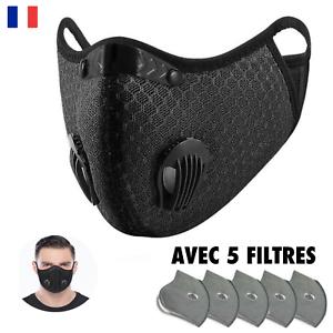 Protection Anti Pollution & Anti Poussière - Avec CINQ Filtres, Lavable, Noir