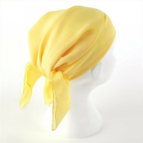 Plain Fitted Elastic Head Scarf Bandana 100/% Polyester Lemon or Coral
