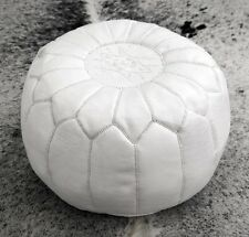Moroccan White Hand Sched Leather Pouffe