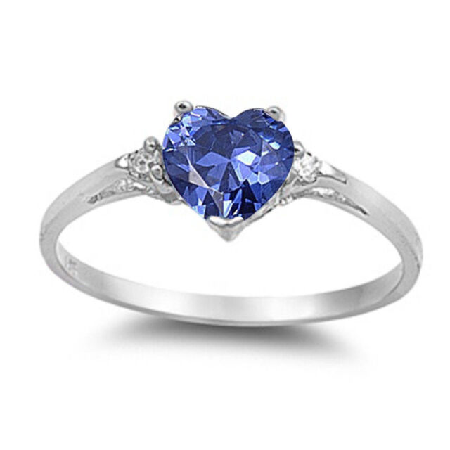 Tanzanite Heart & Cz .925 Sterling Silver Ring Sizes 3-12