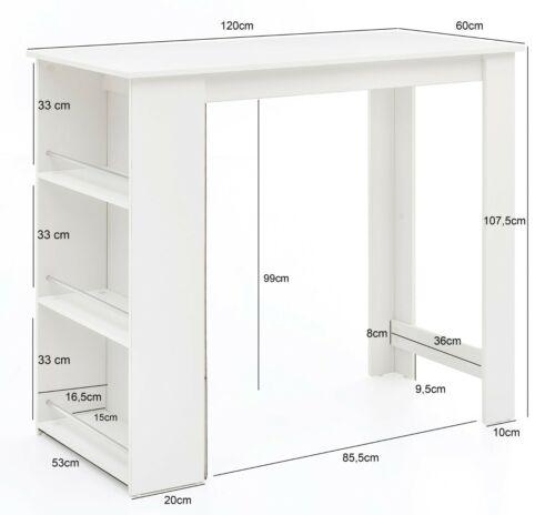Stehtisch Bartisch Küchentisch Küchentresen Tisch weiß und Regalfächer VITA