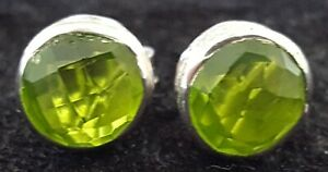 Sterling-silver-amp-green-peridot-vintage-Art-Deco-antique-pair-of-earrings