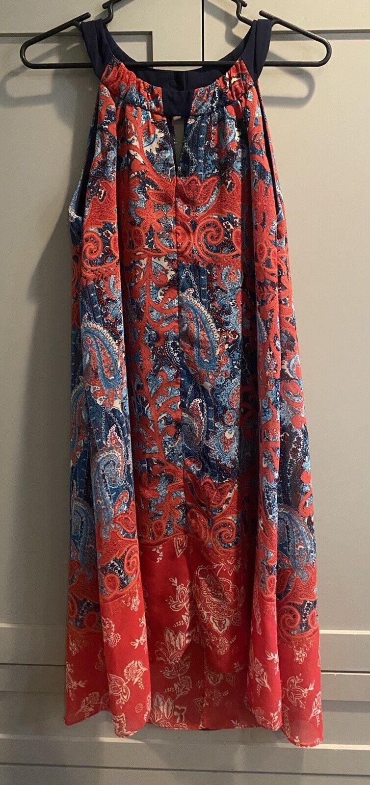 Cb Established 1962 Dress Sz 10 Red & Blue Sheer … - image 2
