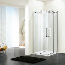Shower Enclosure Room Frameless Tempered Glass Corner Sliding Doors Bathroom DE