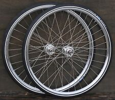 "28"" Antique Track Bike WHEELS Velocity Blunt Fixie Hub Cad Wood Rim Bicycle Tire"