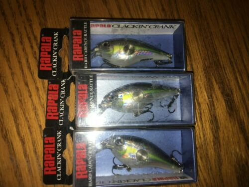 RAPALA CLACKIN CRANK 55/'s--lot of 3 HELSINKI SHAD COLORED-FISHING LURES-CNC55