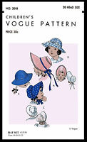Vogue 2018 Cute Girl Kids Hats Baby Bonnet Fabric Sew Pattern 20 Colonial